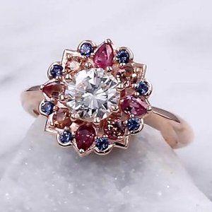 Ring 2.50 Ct Sapphire Diamond Jewelry Lotus Flower